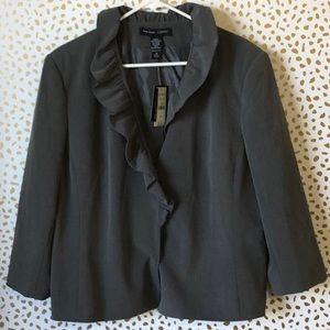 New York & Company Gray ruffle blazer